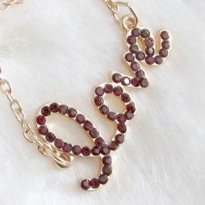 T&J Design Gold Red Crystal Love Pendant Necklace